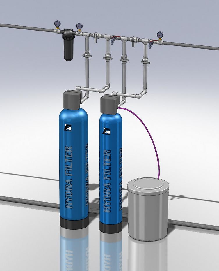 Водоподготовка для коттеджа #5. 1100 л/час (2-3 одновременно открытых крана) Растворенное железо до 2 мг/л, жесткость до 10
